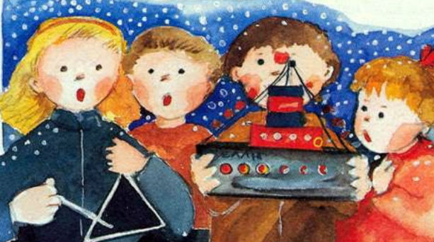 Kalanta on Crete Christmas carols illustration couleur