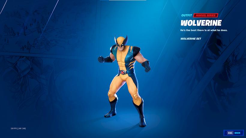 Peau de Wolverine Fortnite