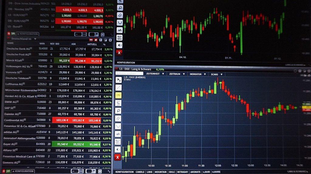 Représentation graphique et tableau de l'évolution des actions en bourse