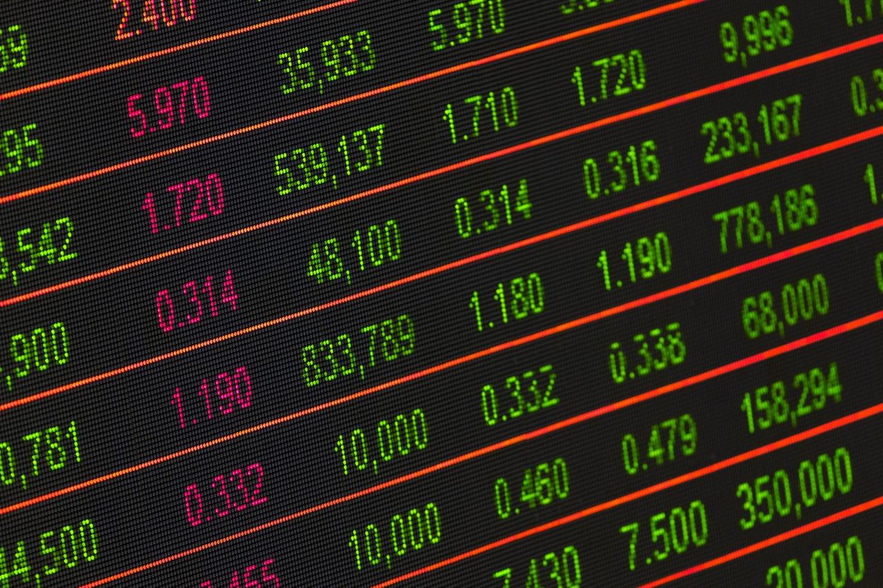 Tableau de placements financier, place de marché, investissement en bourse, actions